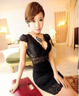 Hot New Women's Sexy Clubwear Party Cocktail Fashion Slim V Neck Lace Robe de nu