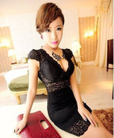 Wholesale Hot New Women s Sexy Clubwear Party Cocktail Fashion Slim V Neck Lace Night Dress Lace Dresses406