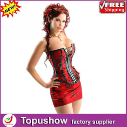 Wholesale Royal Red Satin Bustier Corset Back Lace Up Shaper Gothic Dress with Skirt S XXL
