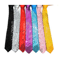 Wholesale Sequin Skinny Slim Necktie Neck Ties Plain colours for party show