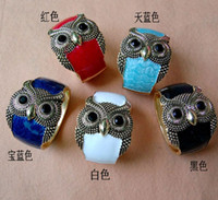 Vintage Alloy Enamel Owl Wide Bangle Cuff Bracelets B11202 F...