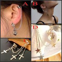 Wholesale Trial Order Leaf Pendant Ear Cuff Earring designs Mix Anchor Ear Chain Cuff Hot Cuff Ear Piercing
