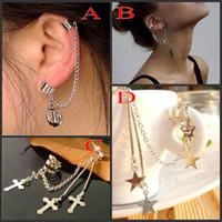 Wholesale Trial Order Leaf Pendant Ear Cuff Earring designs Mix Anchor Ear Chain Cuff Hot Cuff Ear Piercing