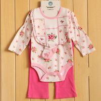 baby girl infant 4pc set one piece rosettes flower romper + ...
