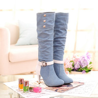 Wholesale Autumn and winter Ladies boots female boots Women s Shoes wild denim fabrics Tall high heeled
