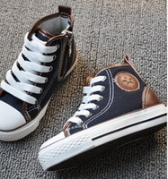 Wholesale 2012 New boys and girls High help canvas casual shoes Children s shoes Single shoes