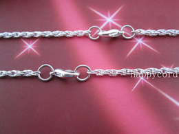 Wholesale-- 24inch Plated Silver Spiral Link chain 3mmx3mm 50pcs lot