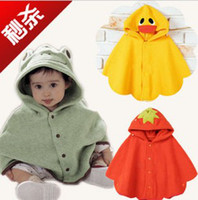 Wholesale Baby Boy Girl Toddler Frog Duck Hoodie Cloak Poncho Cape Mantle Cloak Hoodies Jacket Coat Outwear