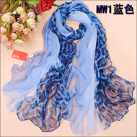Wholesale Hot Sale Womens Fashion Leopard Hit colors Silk Chiffon Scarf Soft Scarves Mix Design x cm
