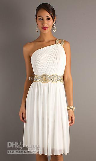 2012 Stunning Grecian Style One Shoulder Ivory Short Demure Knee ...
