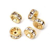 Wholesale 10MM Gold Plated Rhinestone Accessories Fit For Bracelet And Earring Charm Beads pc