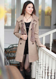 Wholesale Korea women new style double breasted figure flattering slimming coat long sleeve trench coat