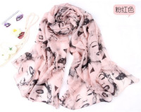 Printed Long Jacquard Marilyn Monroe Vintage Style All-match Ladies Scarf Chiffon Scarf Shawl mix color 6pcs lot