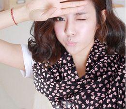 100% silk scarf multipurpose love Heart CHIFFON SILK SCARVES Bandana Scarf Belt Korean Style
