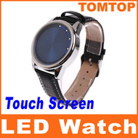 Wholesale Fashional Touch Screen watch Blue LED Men Ladies Digital Wrist watches with Leather band H8188