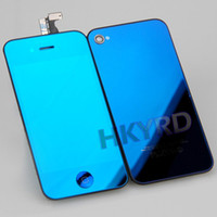 Wholesale D Blue Full Touch Screen Digitizer Mirror LCD Display Chrome Back Housing Assembly for iPhone S G