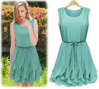 Wholesale Promotion Fashion first quality women s dress summer clothes chiffon color