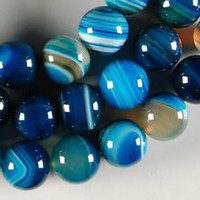 Wholesale 6mm Blue Stripe Agate Onyx Gem Round Loose Beads quot