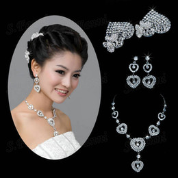 2019 New design Rhinestone headwear earrings and necklace jewelry Set Bling Bling Luxurous