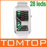 Wholesale New Arrive Cool Alloy Silver Mens Unique Date watch Green LED Digital Wrist Watches H8191