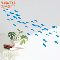 Wholesale New small fish DIY Wall Stickers hallway cabinets bathroom toilet home furnishing decoration sticker