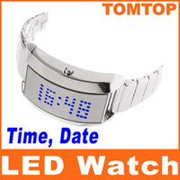 Wholesale EMS Silver Men s Unique Blue LED Digital Wrist Watch Luxury unisex watches H8192