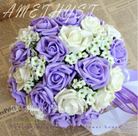 Wholesale Wedding Favors Purple Wedding Bouquet Sweetheart Roses Artifical Silk Flower Bride Holding Flowers