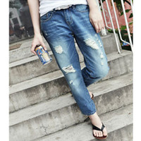 Wholesale New Women Casual Low Rise Boyfriend Style Denim Ripped Frayed diy hole washed out jeans