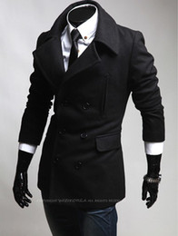 Wholesale High Quality Turn down collar peacoat Solid man s overcoat winter warmer Mans coats M XXL Color