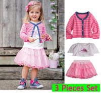 Girl Best for 2-8T/years old 80-90-100-110-120cm Cute Girl Outfits Formal suits Sweat Coat &1pc tee Shirt & 1pc Pant dress Skirts For baby 1- 6 Years
