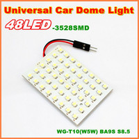 12V inside T10 PCB 48SMD 3528 LED Auto Car Top Dome Light For Interior Reading Roof light with T10 BA9S S8.5 Festoon Bulb Adapter