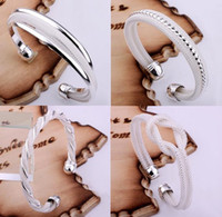Wholesale Fashion Bangle Bracelets Jewelry Mix Style Silver Shining Women s Bangle Bracelets