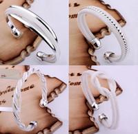 Promotion Mode 4 sortes 925 Argent Bracelets Bracelet Bijoux Mix 4 Style 925 Bangle Bracelets 20pcs / lot d'argent Brillantes pour femmes