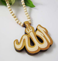 Wholesale Good Quality Hip Hop Allah Pendant Wood Rosary Bead Goodwood Necklaces