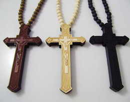 Wholesale Hip Hop Fashion Good Wood NYC Black amp wood amp Brown NEW Cross pendant Rosary Chain Goodwood Necklace free