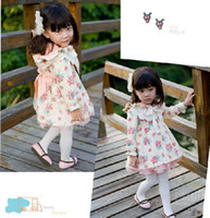 Wholesale 2012 autumn girl s floral hooded dress lace long sleeved jacket princess dress coat bow style skirt