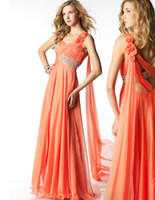 Sheath Column Orange Spaghetti strap Flower Beading Fold Bri...