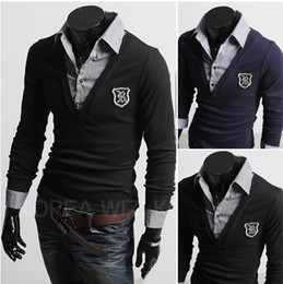 Wholesale DA New Fashion Man Badge Design False Two Leisure Sweater
