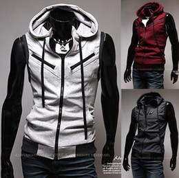 Wholesale Men s hooded Vest red wine style multi zipper College knitted vest Hooded Slim Vest
