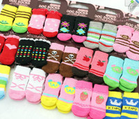 Wholesale 2012 Pet Dog amp Cat Socks Pets Sock Skidproof Nonslip Warm Comfortable XS L size pc pair pc