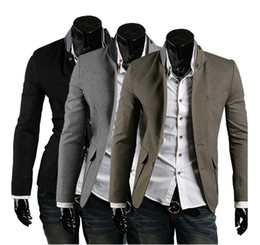Wholesale Hot New Top grade Men Leisure Suit Unique The collar Slits after colors