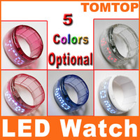 Wholesale Fashion Jewelry Lady Women Clock Bracelet Bangle LED Digital Wrist Watch Transparent H8214 W BL R P