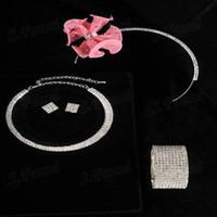 Wholesale Four Pieces Set Pink Flower Headwear Necklaces Earrings And Bracelet Set Jewelry