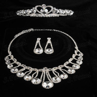 Wholesale Fast delivery Crystal Tiaras Earrings And Necklaces Set Jewelry