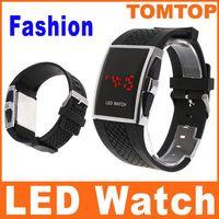 Fashion fashion square - Cool Men s women Red LED Digital Sport Watch Black PU fashion unisex lover s Wrist watches H8256