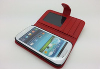 Wholesale Ppromotion PU Leather wallet ID card Case Pouch back Cover for Samsung Galaxy SIII S3 I9300 CASE