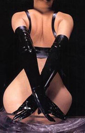 Wholesale Hot Female patent leather lingeries sex clothes Barreled gloves leather Tights sexy toys