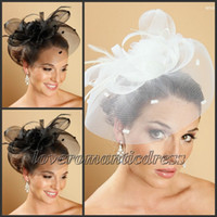 Wholesale Gorgeous White Black Bridal Net Hat Wedding Bird Cage Veils Ready to Ship