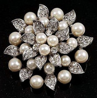 Wholesale Silver Plated cream pearls crysal rhinestone wedding brooches