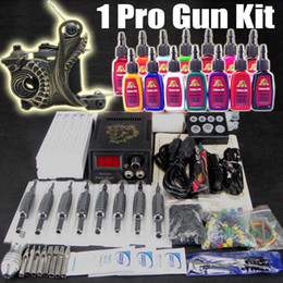 Wholesale Tattoo Kit Professional Machine Gun Power Supply Foot Pedal Needles Grip Tip Ink Cups TK101 a